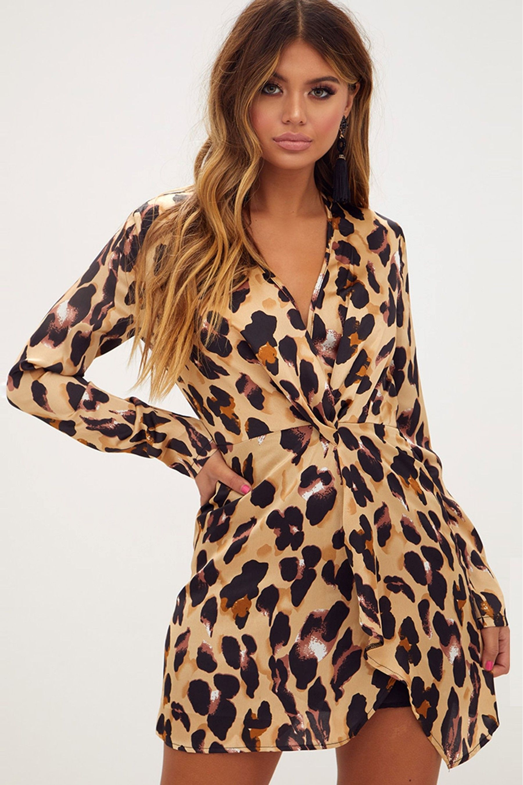82c260f9dc1a Womens PrettyLittleThing Leopard Print Satin Long Sleeve Wrap Dress - Brown