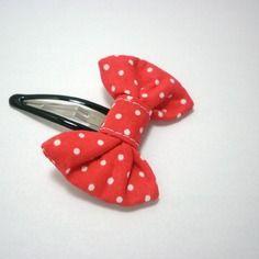Barrette clic-clac pour petite fille noeud rouge à pois blanc