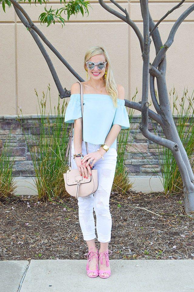 54f4ee7d3695ca vandi-fair-blog-lauren-vandiver-dallas-texas-southern-fashion-blogger-topshop-light-blue-livi-off-the-shoulder-top-vigoss-destroyed-white-skinny-jeans-sam-  ...