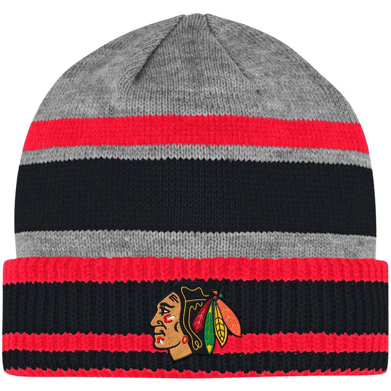best service 6f995 59783 Chicago Blackhawks adidas Team Logo Cuffed Knit Hat - Gray