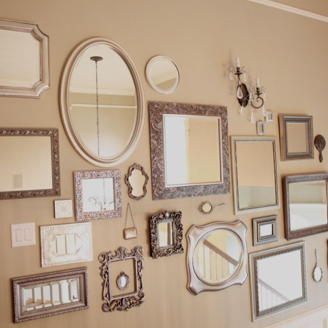 I Like The Idea Of Silver Frames But Wold Love To Do One Mirror And The Rest Beautiful Glamorous Black Mirror Wall Collage Mirror Gallery Wall Mirror Collage