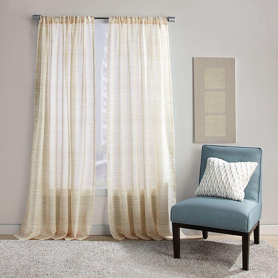 "Dawn Stripe 108"" Rod Pocket Sheer Window Curtain Panel In"