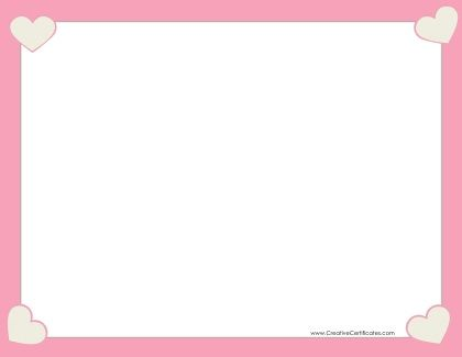 Pink Border With Four Hearts Printable Heart Template Templates