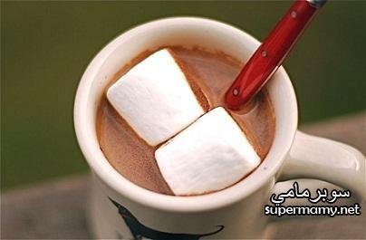 مشروب الشوكولاته بحليب جوز الهند الساخن للاطفال للتدفئه فى الشتاء