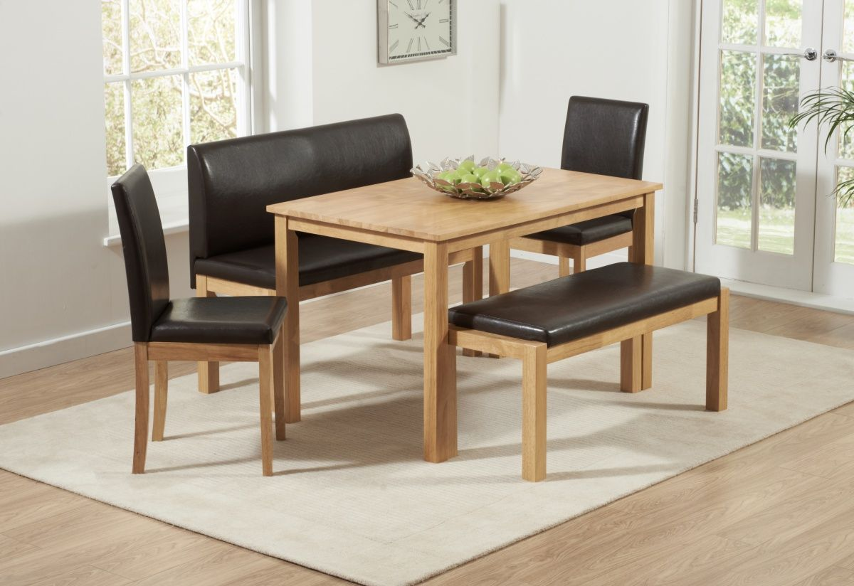 The Hamra Dining Set Is A Solid Rubberwood Table And Chair In Natural Oak With Synthetic Leather Seat Pads This Comprises Of 2 Chairs