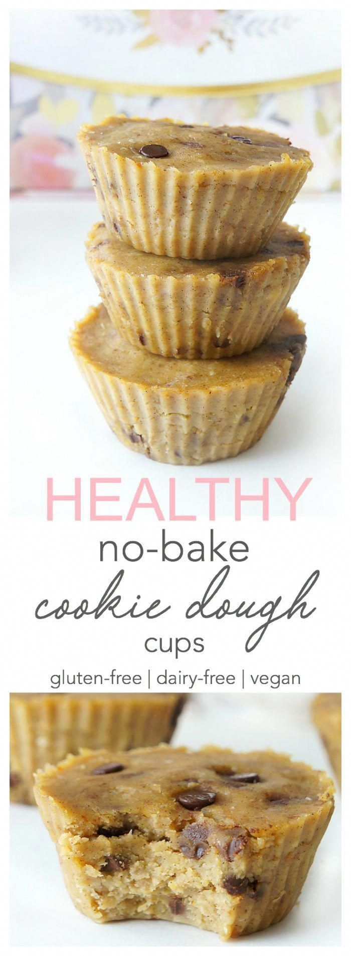 These healthy no-bake cookie dough cups make a delicious and nutritious treat or snack on the go (great for pre or post workout)! They�re a good source of protein and fibre and are also vegan, gluten-free and dairy-free!   Haute & Healthy Living