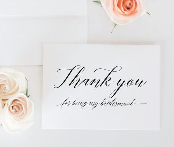 Bridal Party Thank You Cards Thank You For Being My Maid Of Honor