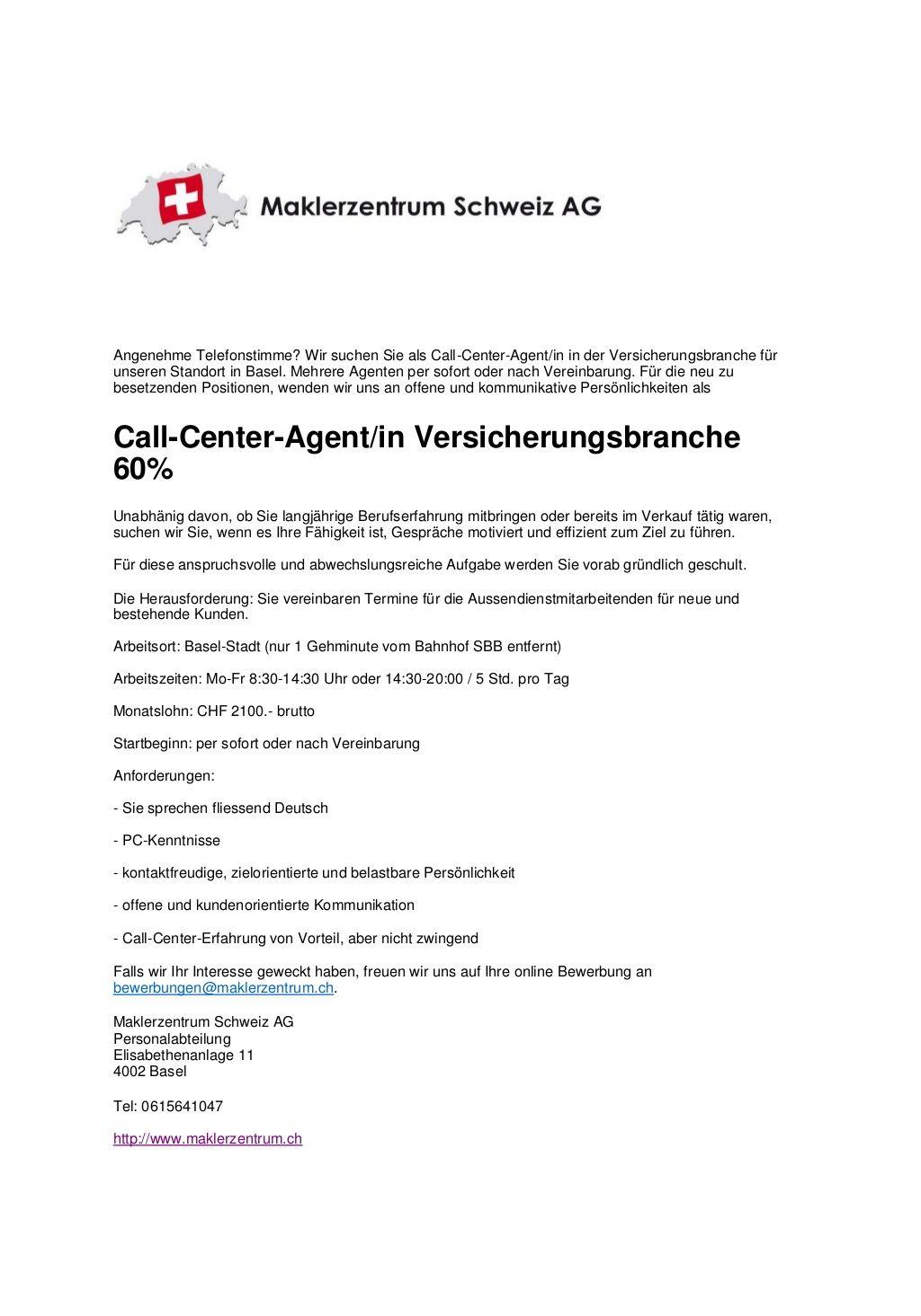 maklerzentrum schweiz call center agenten by maklrerzentrum schweiz ag via slideshare - Bewerbung Call Center