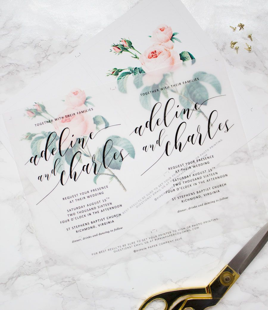 Print Your Own Wedding Invitation: Make Your Own Beautiful Floral Wedding Invitations With