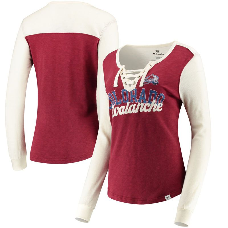377fb395d4c Colorado Avalanche Fanatics Branded Women s True Classics Lace-Up Long  Sleeve T-Shirt - Burgundy White