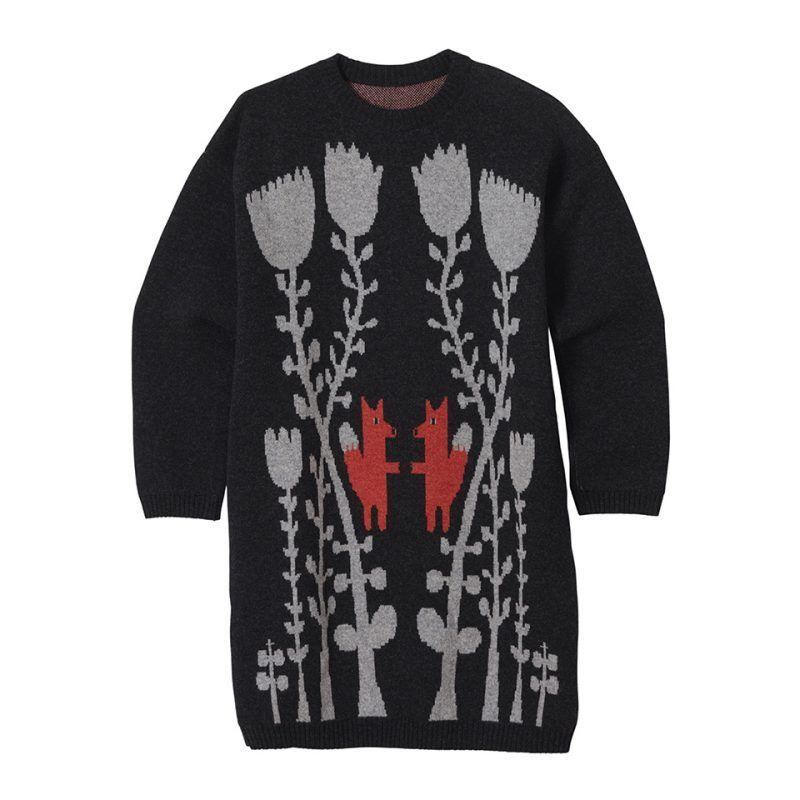 Knitwear – Fox in flowers long sweater charcoal
