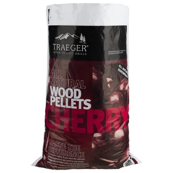 Cherry BBQ Hardwood. Only Traeger can guarantee that nothing harmful is cooking your food. With our 100% all-natural wood pellets, fuel the fire for memorable food kissed by robust wood smoke. We keep our smoke to moisture ratio consistently at 5%—the perfect spot for optimal burn. With Traeger Cherry pellets, naturally enhance Beef, Chicken, and Pork with a subtly sweet, fruity flavor.