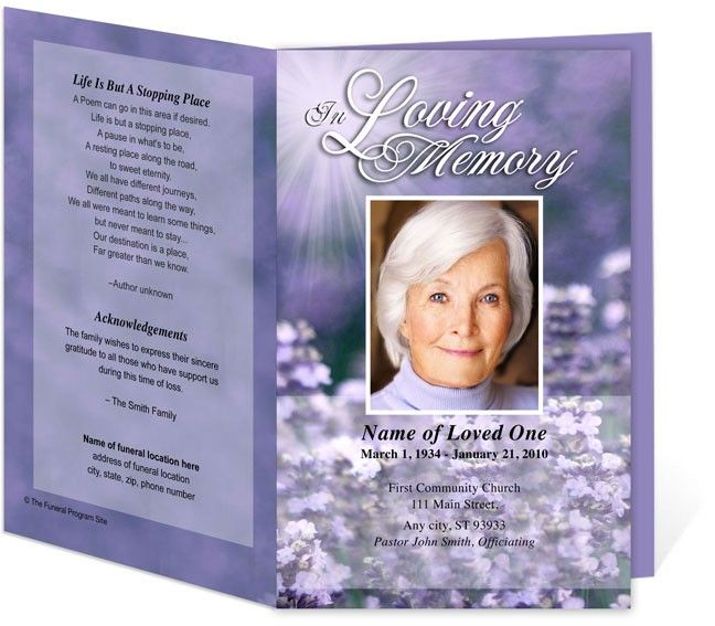 Lilac Letter Single Fold Funeral Program Template  Noni