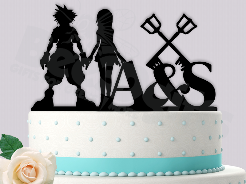 Sora And Kairi Key Blades Personalized Initials Kingdom Hearts Inspired Event Wedding Cake Topper