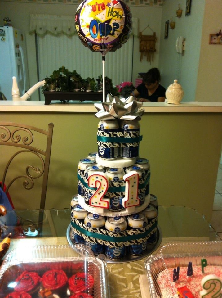 Excellent Beer Tower Cake For 21St Birthday Beer Cake Tower Liquor Personalised Birthday Cards Beptaeletsinfo