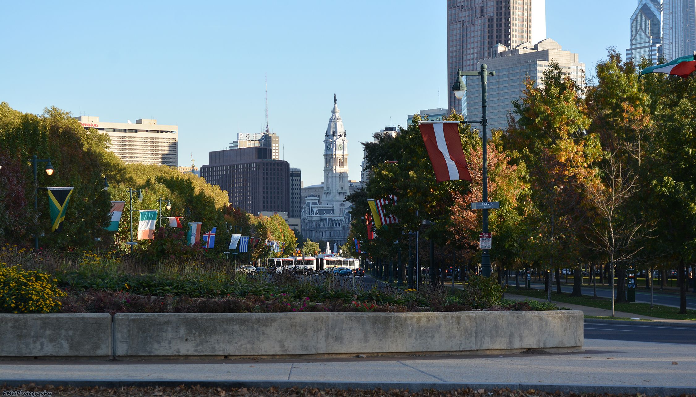 Looking down the Ben Franklin Parkway at City Hall in center background.