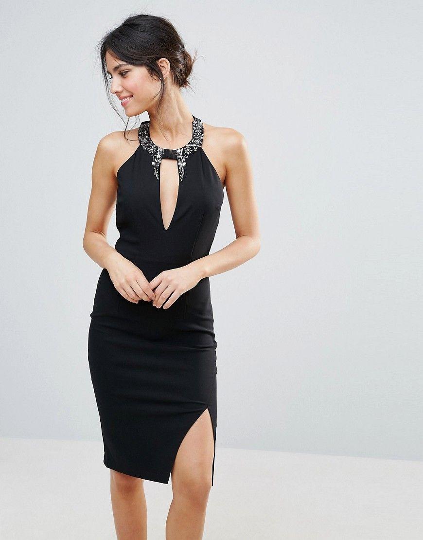 Little Mistress - Kleid mit Verzierungen am V-Ausschnitt - Schwarz ...