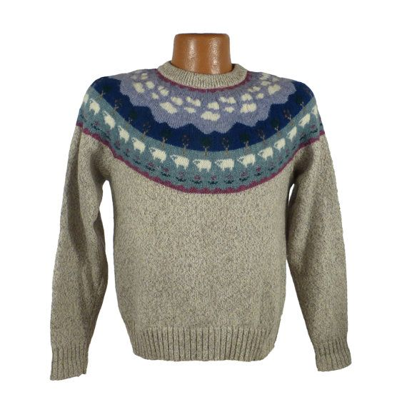 Sheep Wool Sweater Novelty Vintage Eddie Bauer By Purevintageclothing