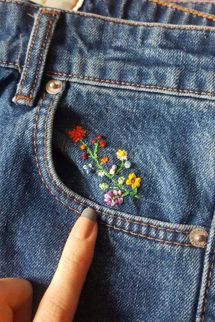 Embroidered flowers on denim in 2020 denim embroidery