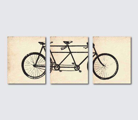 Wall Decor - Tandem Bike Wall Art - Wall Art Trio - Room ...