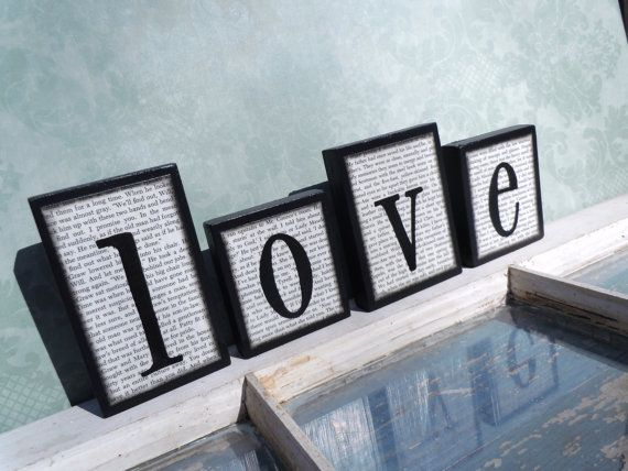 Love Wooden Block Set Black And White by UniquelyDifferentToo
