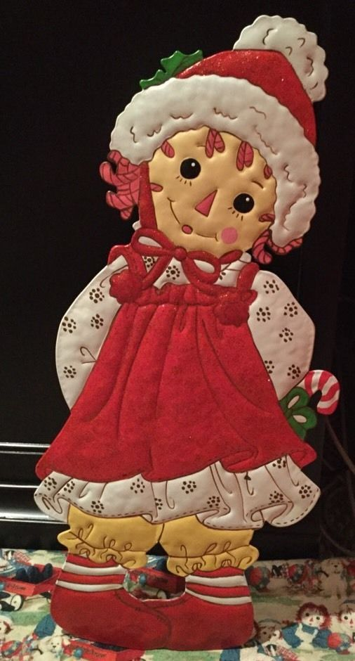 Raggedy Ann Large Metal Art Yard Sign For Christmas Holiday New