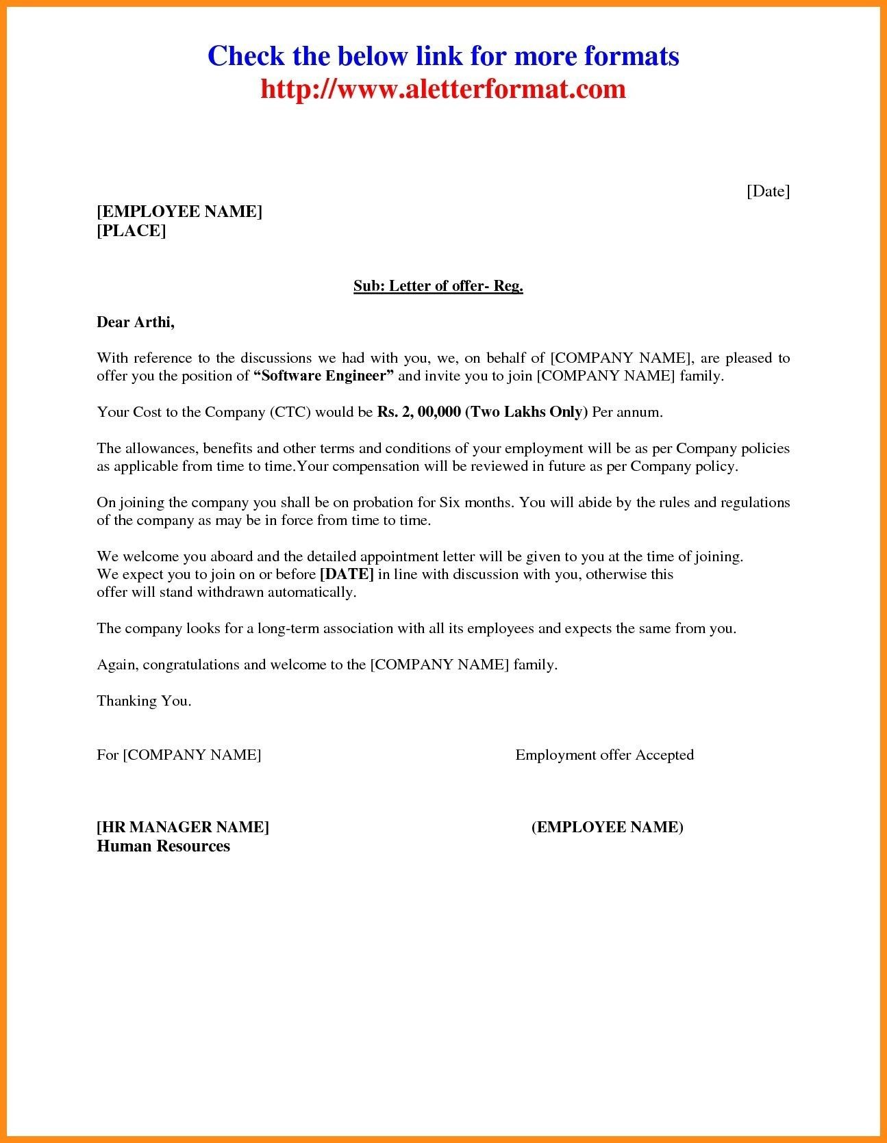 Valid Format Of Appointment Letter For Employee Letter Template Word