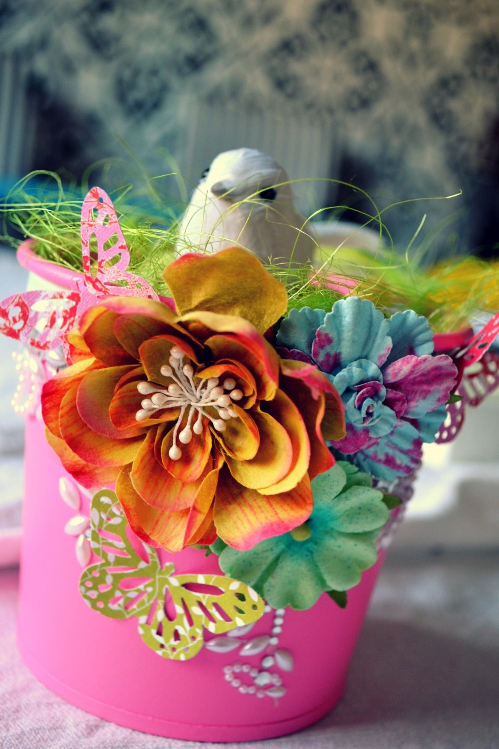 Gorgeous Bright Bird in a Tub by Malin D.