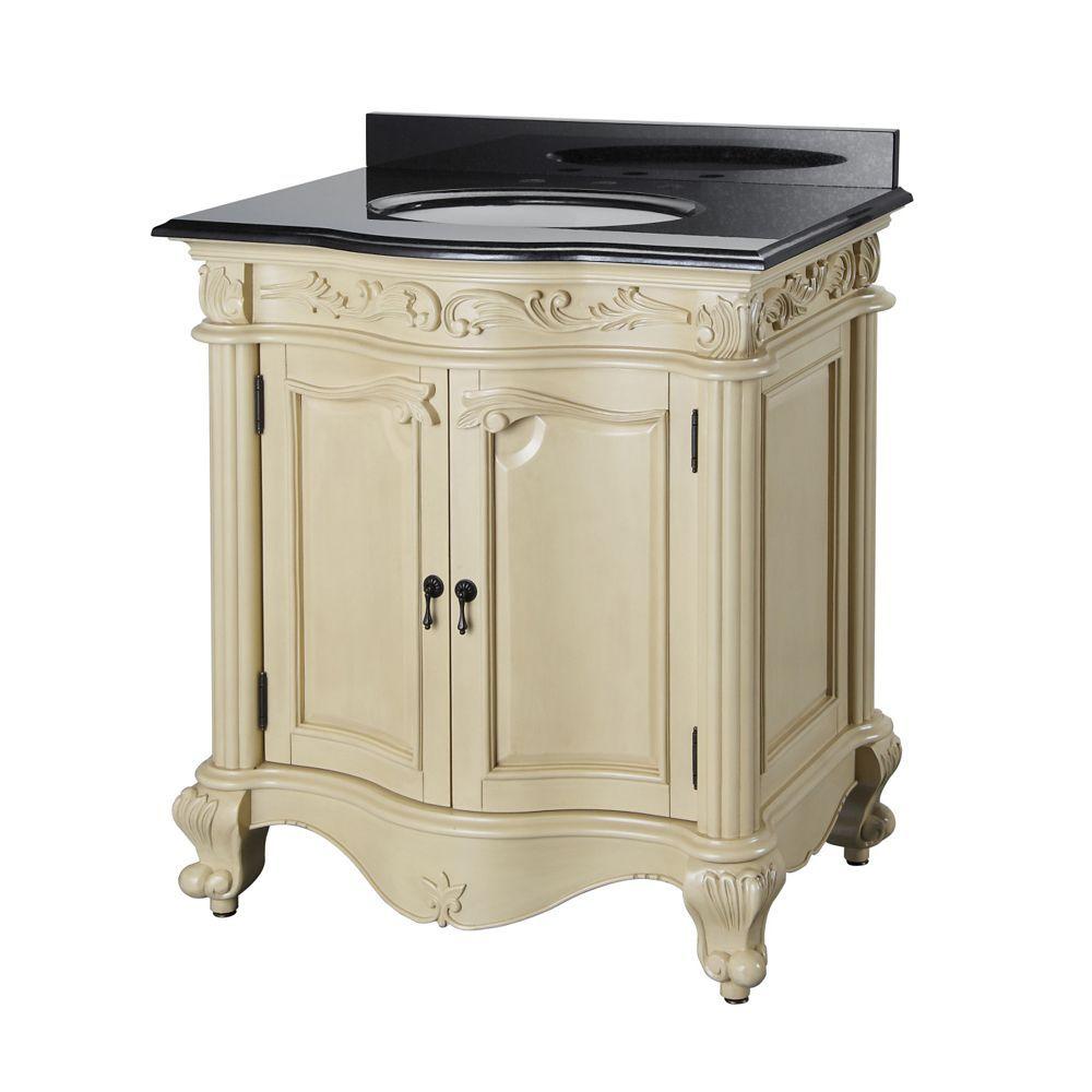Estates 30 Inch W Vanity Combo In Antique White Finish With Granite Top In Black Granite Vanity Tops Vanity Combos Vanity