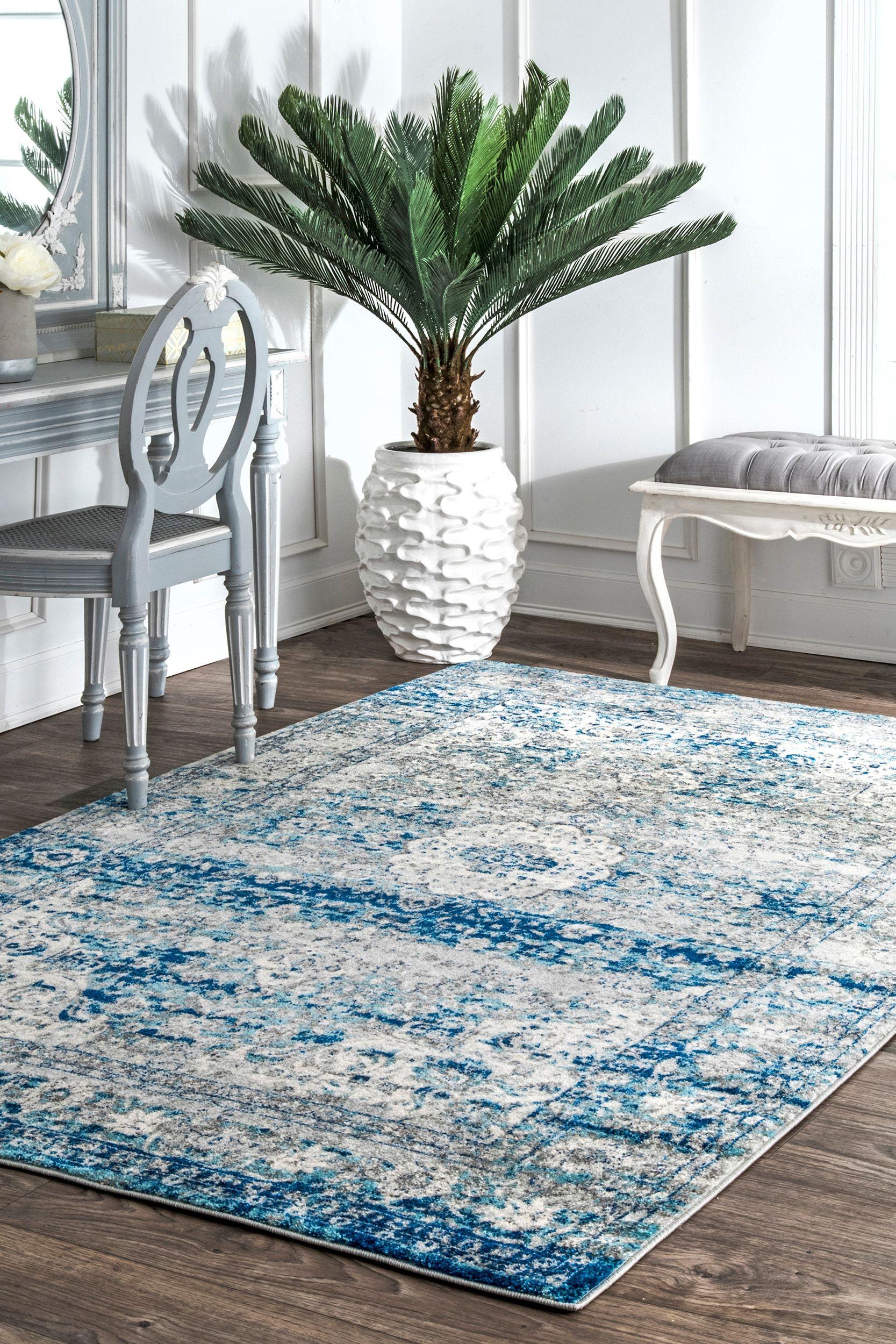 Bosphorus distressed persian light blue rug distressed