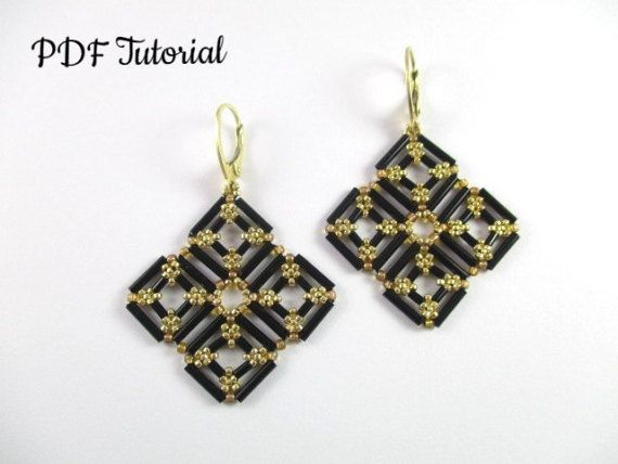 Beaded Earrings Pattern Squared Bugles Tutorial Things