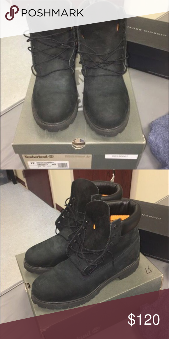 Sz 12 black timberland boots Great condition still no