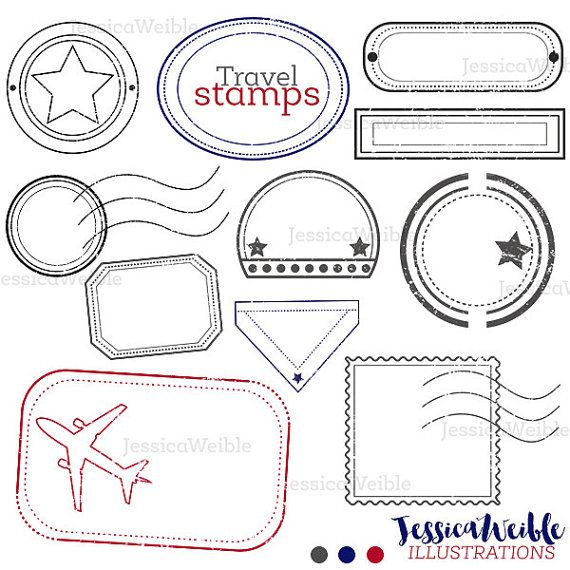Travel Stamps Cute Digital Clipart Digital by JWIllustrations