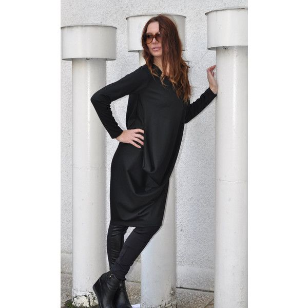 Loose Black Cotton Tunic Long Sleeves Maxi Tunic Top, Black Loose... (£63) ❤ liked on Polyvore featuring tops and tunics