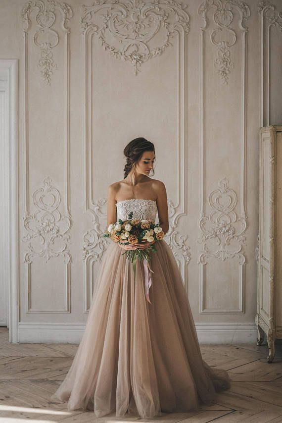Colored Disney wedding dress Harmony/Simple off the shoulder wedding dress/Bridal lace top/Ivory unique wedding dress/A line gown/Tutu skirt