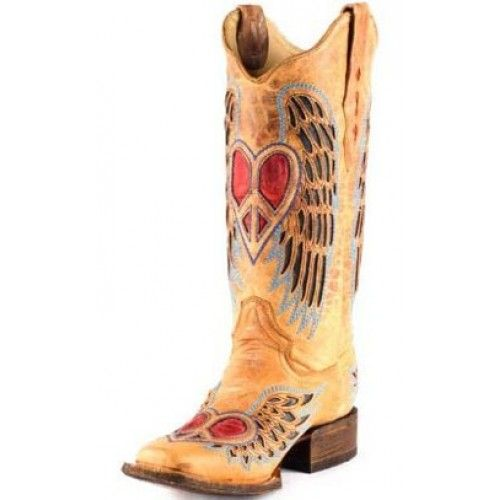 dc3853c94a3a Close-Out Corral Ladies  Boots with Peace-Sign Heart and Wing Inlays In  TanNo exchanges or refunds due to close-out pricing. All sales are final.