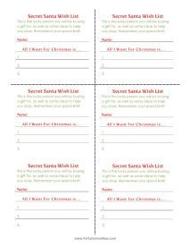 Secret Santa Wish List Cards Printable Christmas Games