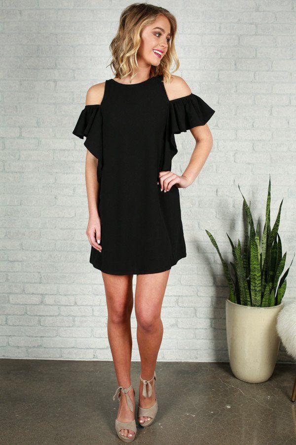 af1ccac439 French Daydream Cold Shoulder Dress in Black