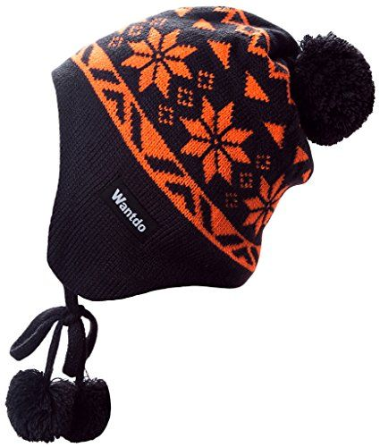 0907efda0b2 Wantdo Unisex Knit Winter Hat Flap Hat with Pom Pom     More info could be  found at the image url. (This is an affiliate link)