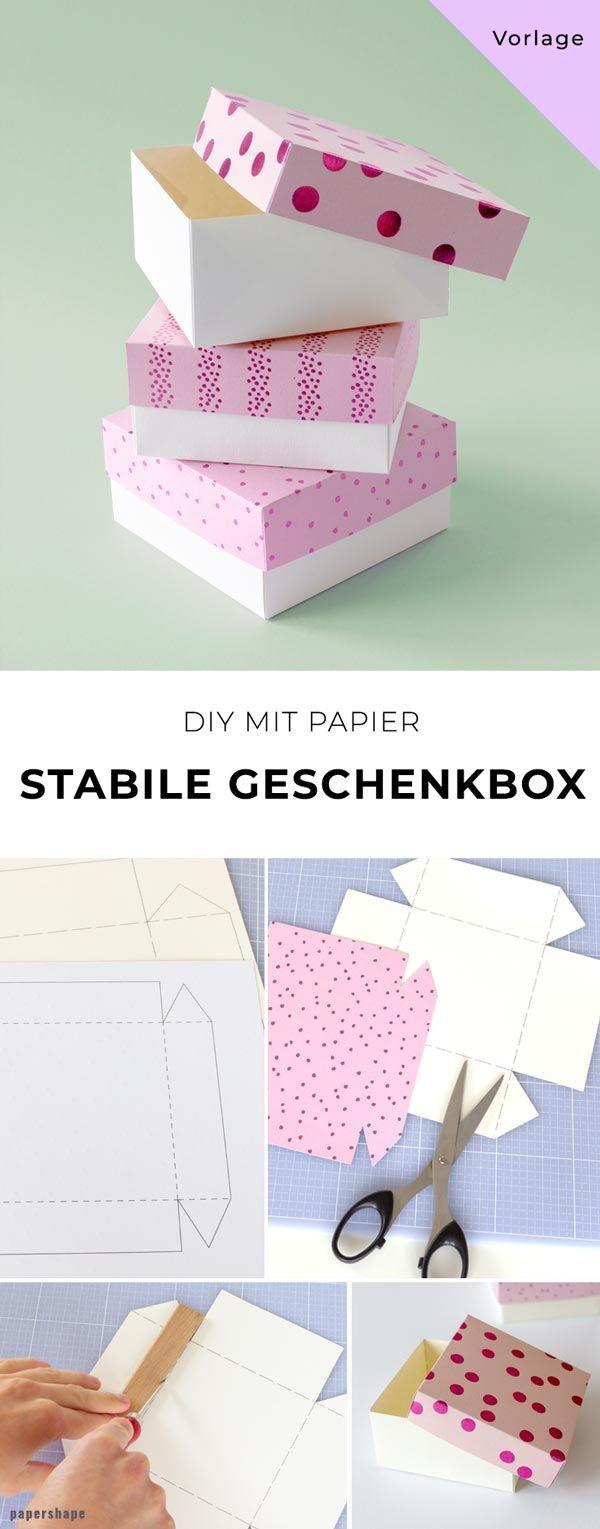 Stabile Geschenkbox basteln [Vorlage] #papiercadeau