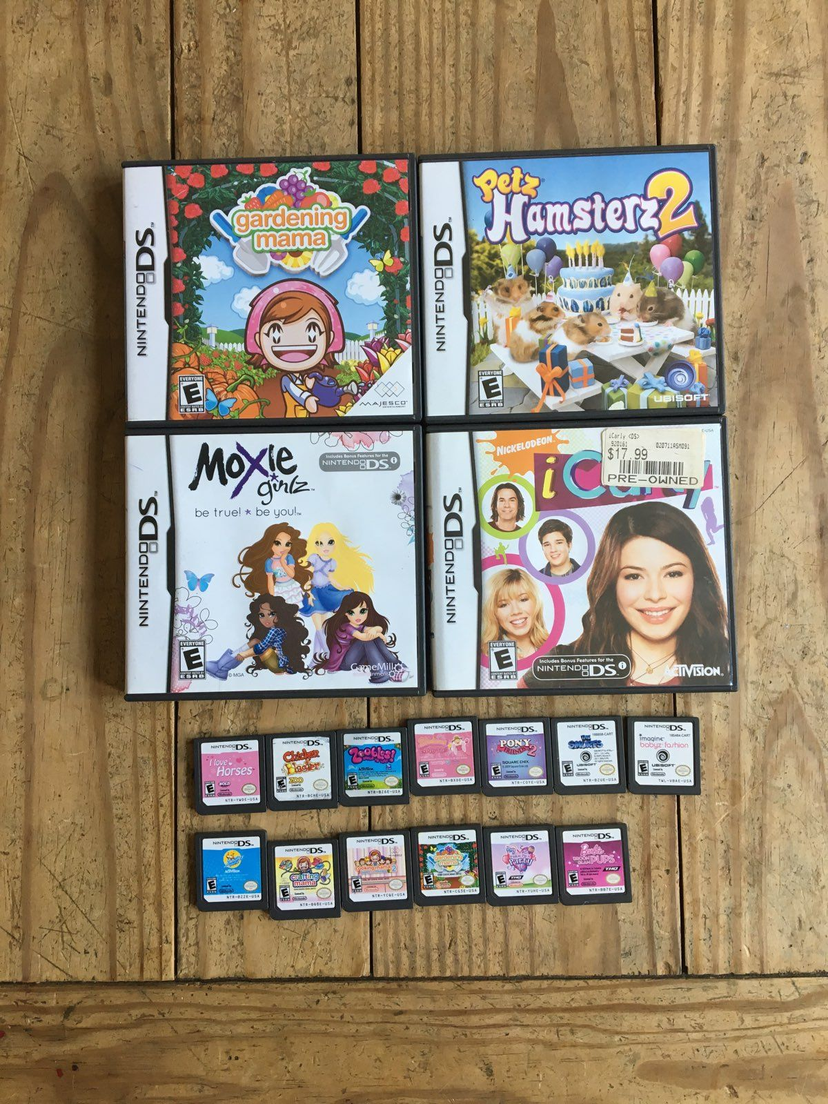 17 Games Great Condition Gardening Mama X2 Cooking Mama 2 Crafting Mama Petz Hamsters 2 Moxie Girlz Icarly I Love Horses Icarly Zhu Zhu Childhood Memories