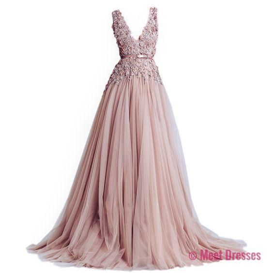 Blush Pink Prom Dresses,Ball Gown Prom Dress,Tulle Prom Dress,Simple ...
