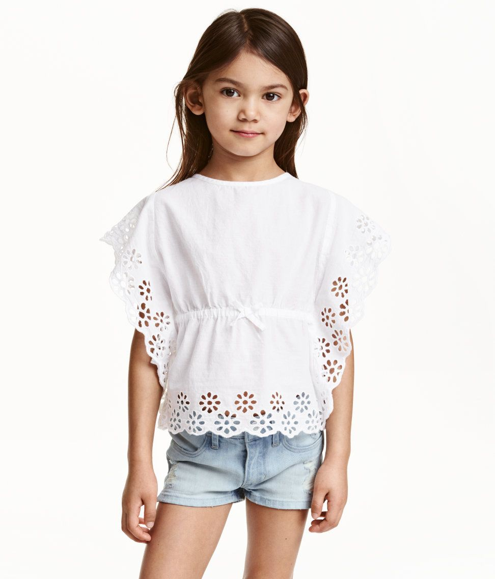 fccd89e30c6ad2 Embroidered Blouse| H&M Kids | H&M KIDS | Embroidered blouse, Girls ...