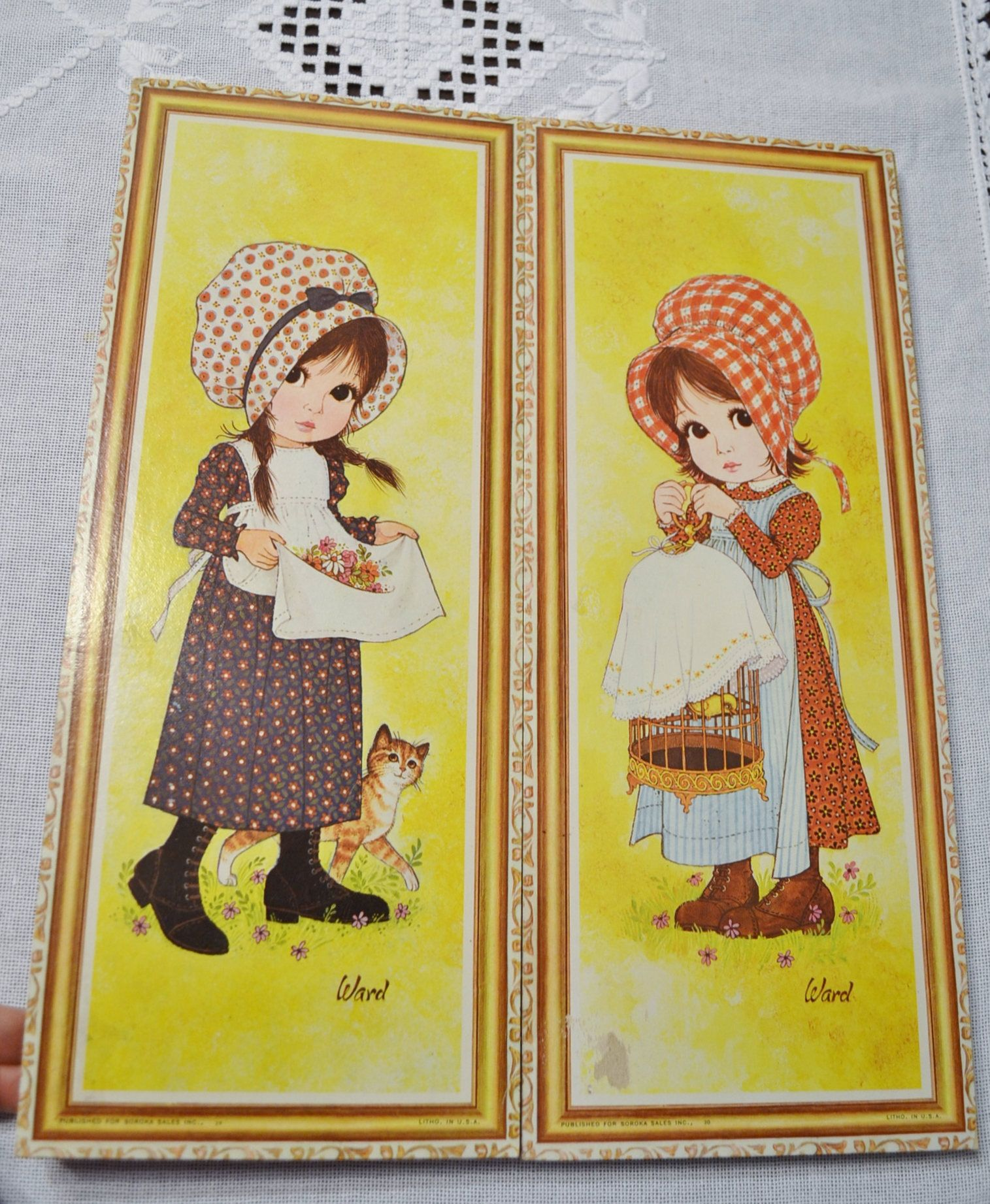 Vintage Big Eye Girl Print Set of 2 Ward Shy Girl Cat Bird Cage ...
