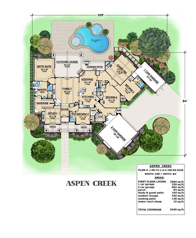 This ranch design the aspen creek is massive with over for 3500 square foot house
