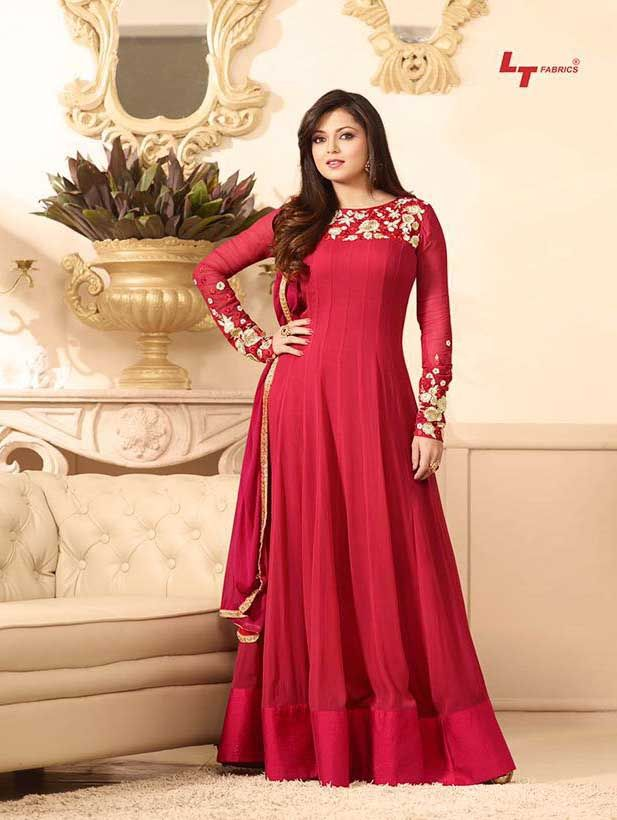 318860317f Madhubala as Drashti Dhami Red Designer Georgette Dress Materials in ...