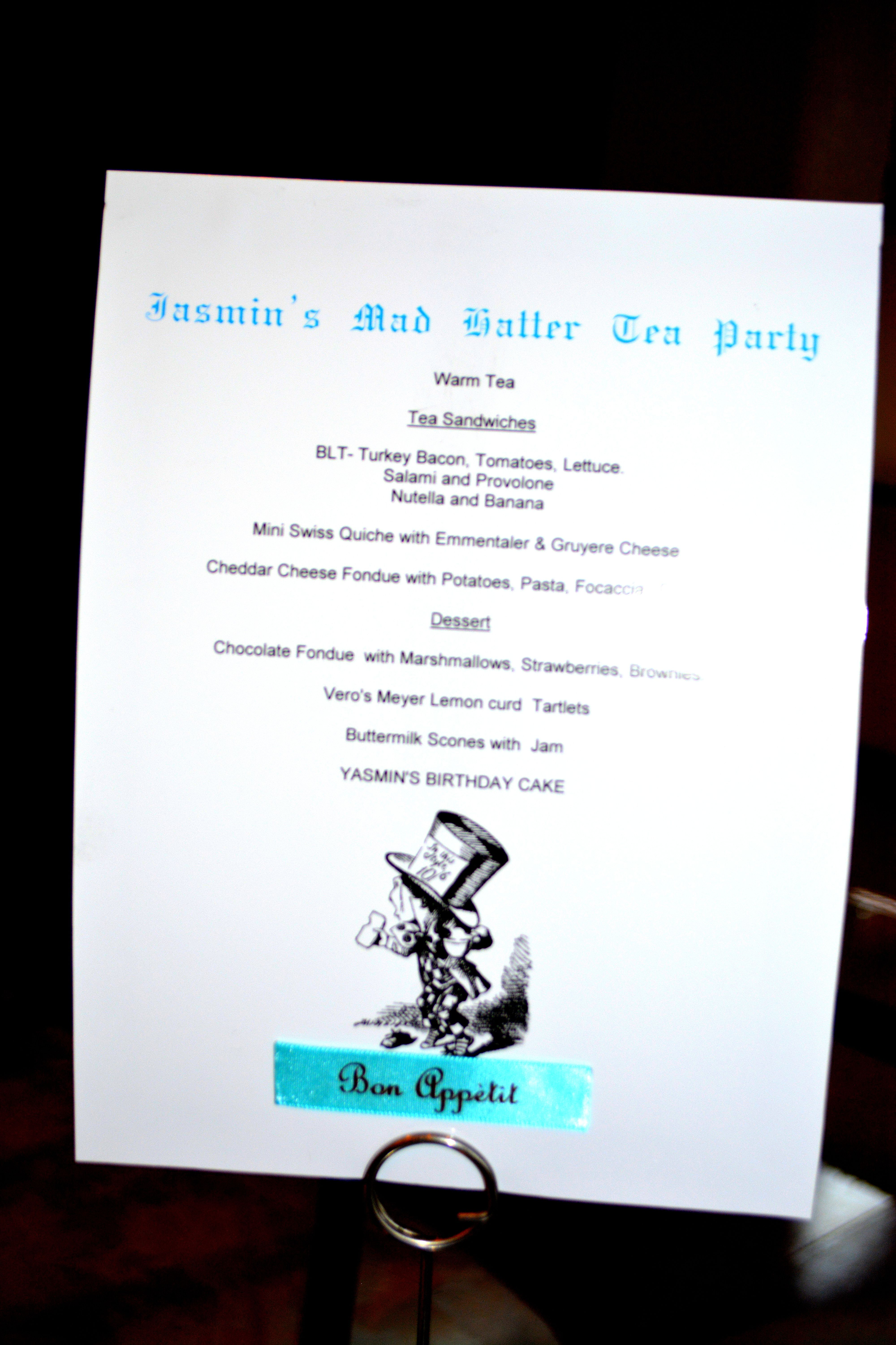 Mad Hatter birthday tea party menu | Mad Hatter Birthday Party ...