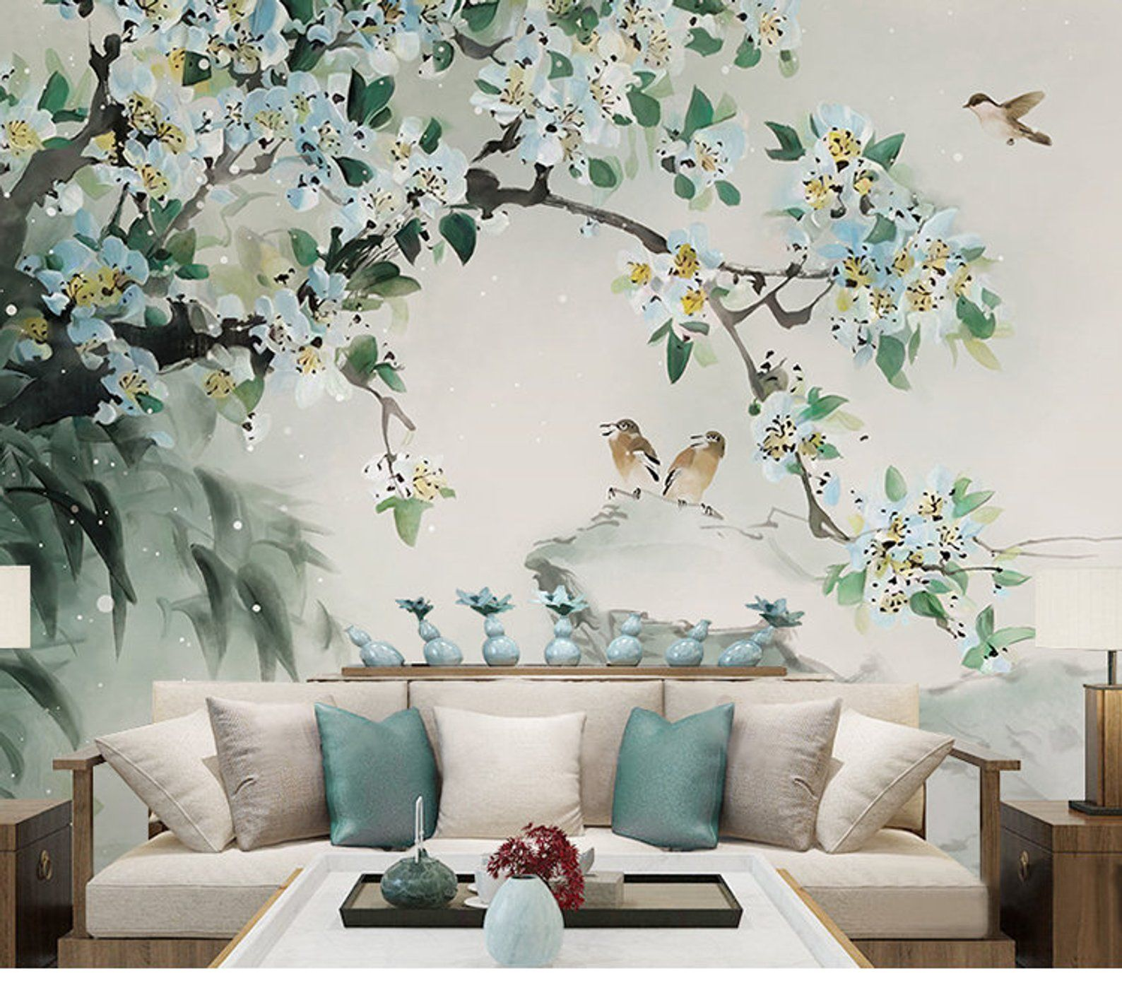 Oriental Ink Painting Wallpaper Wall Mural Flowers Birds Theme