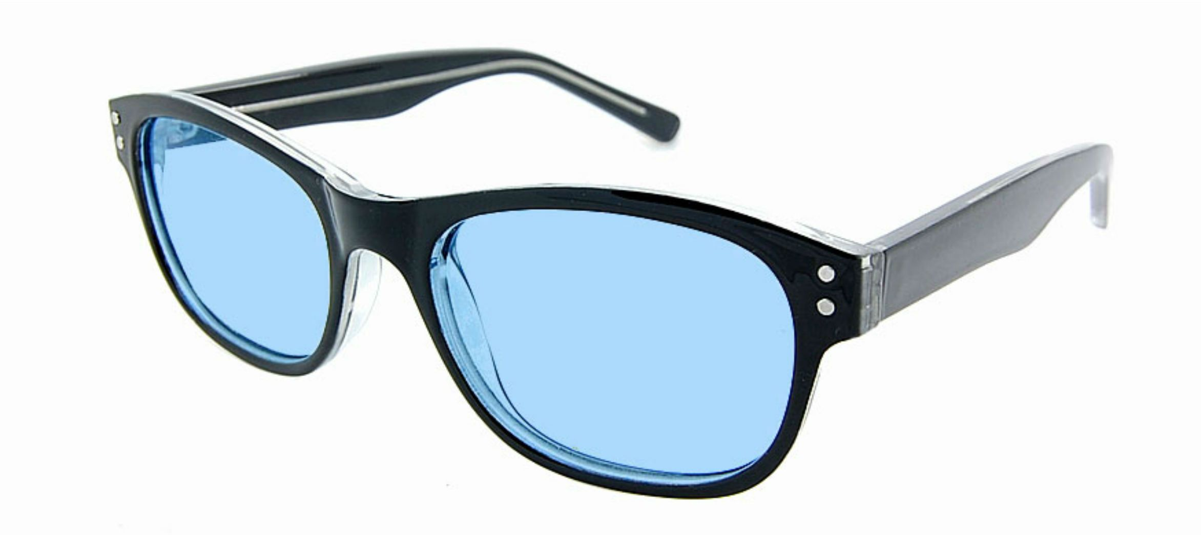 f9c82fc0755 BLUE TINTED Kids Wayfarer Style glasses for Dyslexia and Autism. Fits ages  7-10
