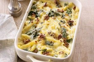Cheese Spinach and Walnut Pasta Bake